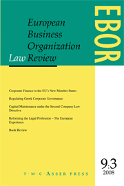 European Business Organization Law Review (EBOR) Volume 9 - Issue 3 -