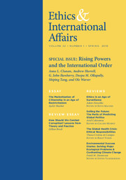 Ethics & International Affairs Volume 32 - Special Issue1 -  Rising Powers and the International Order