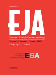 European Journal of Anaesthesiology Volume 25 - Issue 1 -