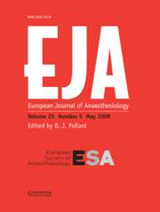 European Journal of Anaesthesiology Volume 25 - Issue 5 -