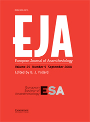 European Journal of Anaesthesiology Volume 25 - Issue 9 -