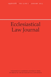 Ecclesiastical Law Journal Volume 15 - Issue 1 -