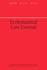 Ecclesiastical Law Journal Volume 19 - Issue 2 -