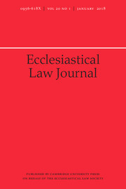 Ecclesiastical Law Journal Volume 20 - Issue 1 -