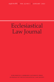 Ecclesiastical Law Journal Volume 23 - Issue 1 -