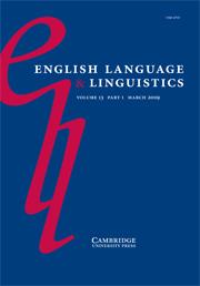 English Language & Linguistics Volume 13 - Issue 1 -