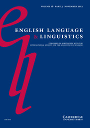 English Language & Linguistics Volume 16 - Issue 3 -