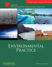 Environmental Practice Volume 15 - Issue 1 -