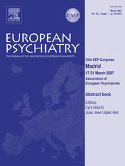 European Psychiatry Volume 22 - Issue S1 -  15th AEP Congress - Abstract book - 15th AEP Congress