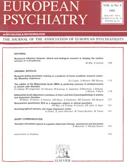European Psychiatry Volume 6 - Issue 3 -