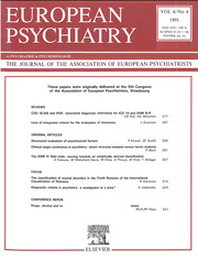 European Psychiatry Volume 6 - Issue 6 -