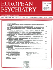 European Psychiatry Volume 7 - Issue 4 -