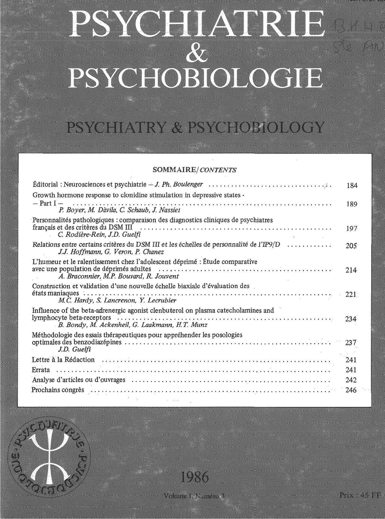 Psychiatry and Psychobiology
