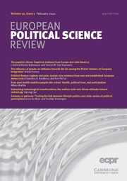 European Political Science Review Volume 12 - Issue 1 -