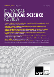 European Political Science Review Volume 13 - Issue 2 -