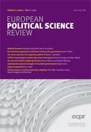 European Political Science Review Volume 1 - Issue 1 -