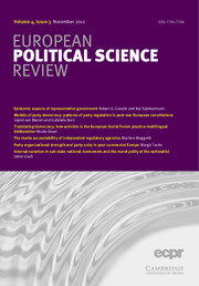 European Political Science Review Volume 4 - Issue 3 -