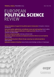 European Political Science Review Volume 5 - Issue 3 -
