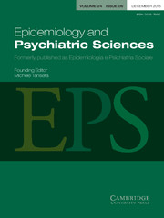 Epidemiology and Psychiatric Sciences Volume 24 - Issue 6 -