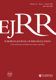 European Journal of Risk Regulation Volume 10 - Issue 1 -  Symposium on Regulating the Risk of Disruptive Technology