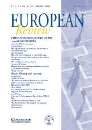 European Review Volume 11 - Issue 4 -