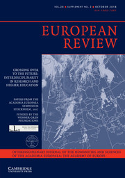European Review Volume 26 - SupplementS2 -  Crossing Over To The Future: Interdisciplinarity In Research and Higher Education