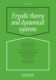 Ergodic Theory and Dynamical Systems Volume 38 - Issue 1 -