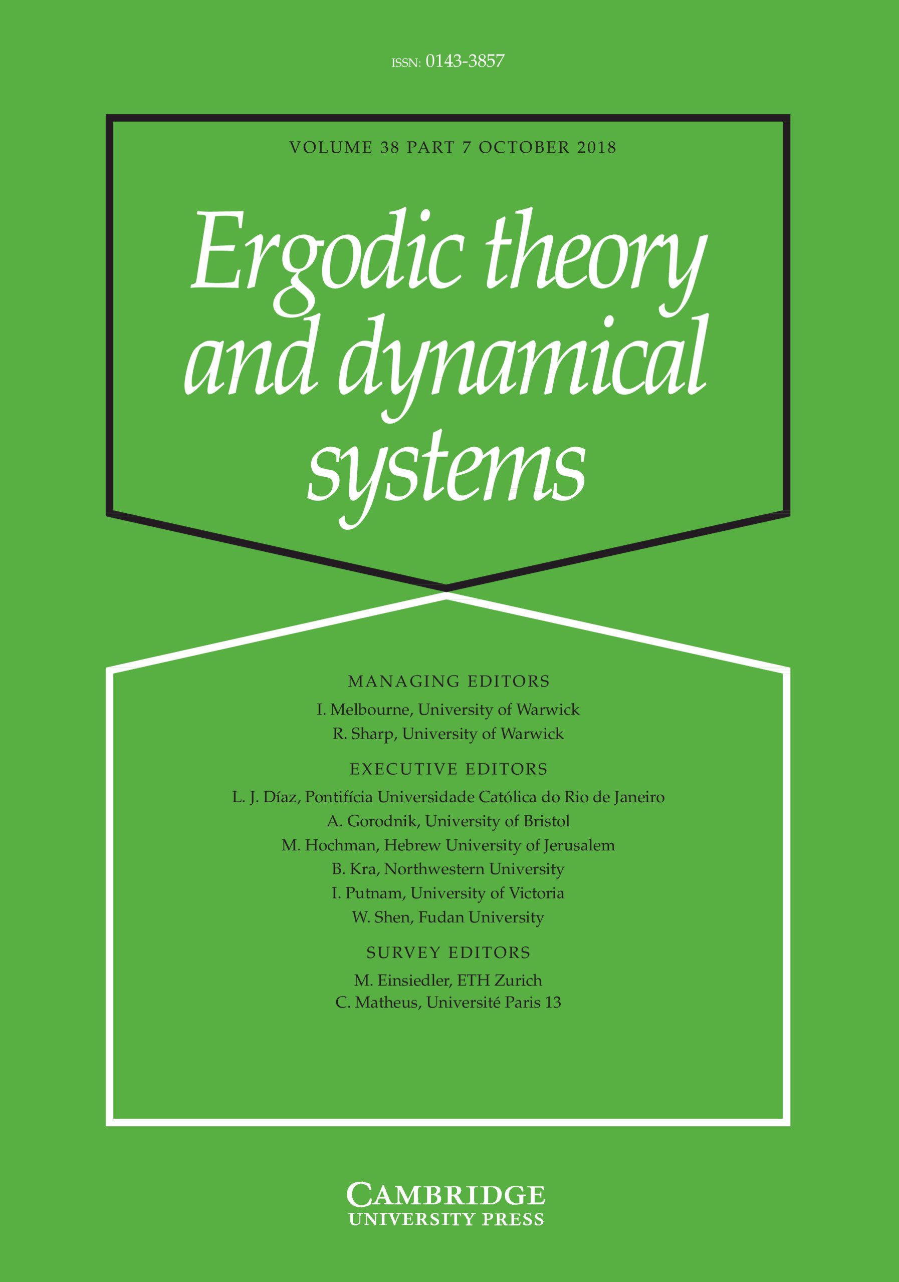 Ergodic Theory and Dynamical Systems: Volume 38 - Issue 7