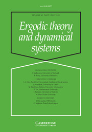 Ergodic Theory and Dynamical Systems Volume 41 - Issue 5 -