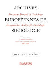 European Journal of Sociology / Archives Européennes de Sociologie Volume 51 - Issue 1 -