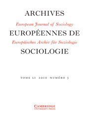European Journal of Sociology / Archives Européennes de Sociologie Volume 51 - Issue 3 -