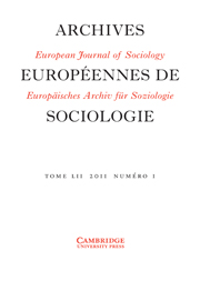 European Journal of Sociology / Archives Européennes de Sociologie Volume 52 - Issue 1 -