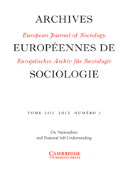 European Journal of Sociology / Archives Européennes de Sociologie Volume 53 - Issue 1 -