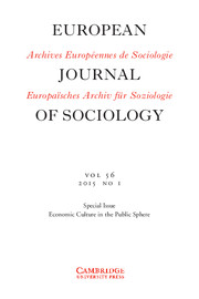 European Journal of Sociology / Archives Européennes de Sociologie Volume 56 - Issue 1 -  Economic Culture in the Public Sphere