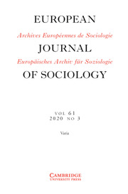 European Journal of Sociology / Archives Européennes de Sociologie Volume 61 - Issue 3 -