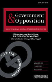 Government and Opposition Volume 50 - Special Issue3 -  50th Anniversary Special Issue THE FUTURE OF DEMOCRACY