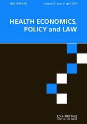 Health Economics, Policy and Law Volume 13 - Issue 2 -