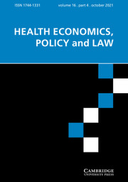Health Economics, Policy and Law Volume 16 - Issue 4 -