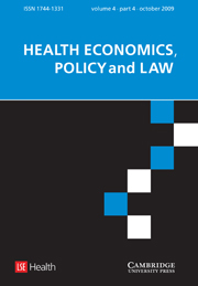Health Economics, Policy and Law Volume 4 - Issue 4 -