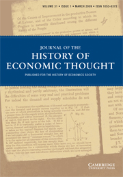 Journal of the History of Economic Thought Volume 31 - Issue 1 -