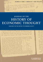 Journal of the History of Economic Thought Volume 33 - Issue 1 -