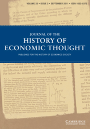 Journal of the History of Economic Thought Volume 33 - Issue 3 -