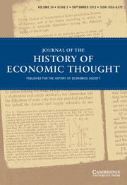 Journal of the History of Economic Thought Volume 34 - Issue 3 -