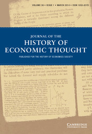 Journal of the History of Economic Thought Volume 36 - Issue 1 -