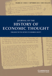 Journal of the History of Economic Thought Volume 38 - Issue 3 -