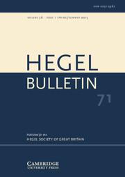 Hegel Bulletin Volume 36 - Issue 1 -