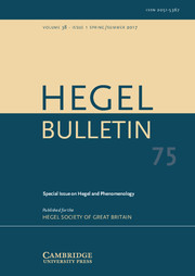 Hegel Bulletin Volume 38 - Special Issue1 -  Hegel and Phenomenology
