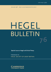 Hegel Bulletin Volume 38 - Issue 2 -  Hegel and Critical Theory