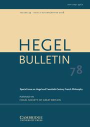 Hegel Bulletin Volume 39 - Special Issue2 -  Hegel and Twentieth-Century French Philosophy