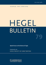 Hegel Bulletin Volume 40 - Special Issue1 -  Science of Logic